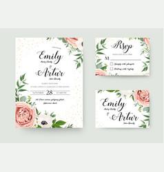 Wedding floral invitation thank you rsvp card vector