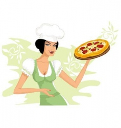 woman with a pizza vector image vector image