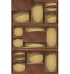 Wooden shelves background vector