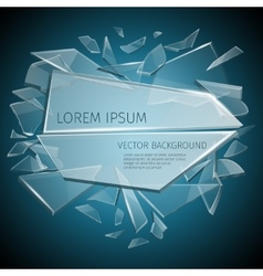 Broken glass label design vector