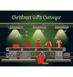 Christmas gift wrapping machine conveyor vector image