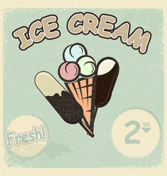 Vintage postcard with a picture of ice cream vector image