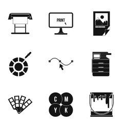 Printing in polygraphy icons set simple style vector