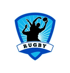 Rugby player lineout catch shield vector