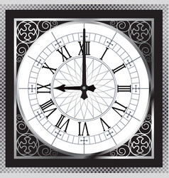 Luxury white gold metal clock with roman numerals vector