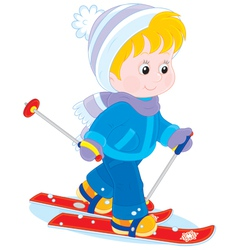 Child skiing vector