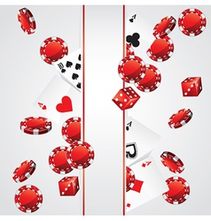 Cards chips casino poker background vector