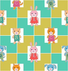 Seamless pattern with checks and babies vector