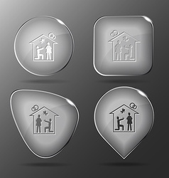 Home affiance glass buttons vector