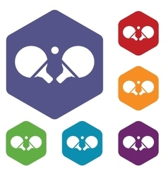 Ping-pong rackets hexagon icon set vector