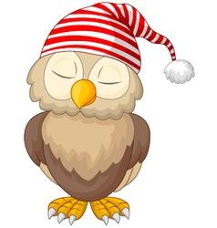 Cartoon owl sleeping vector