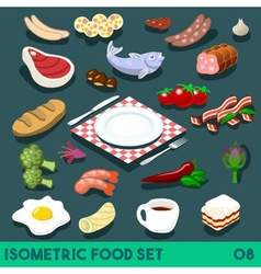 Diet set 08 food isometric vector
