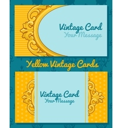 Two golden vintage horizontal business cards vector