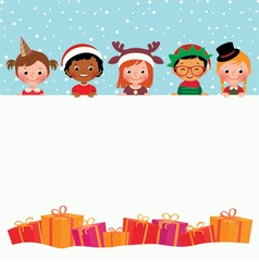 Group of children in costumes and christmas gifts vector