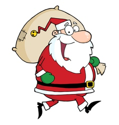 Santa claus runs with bag vector