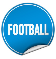 Football round blue sticker isolated on white vector