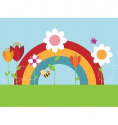 rainbow flower garden vector image