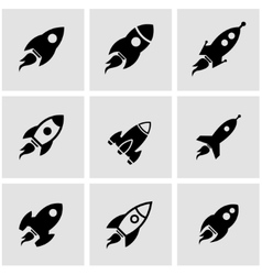 Black rocket icon set vector