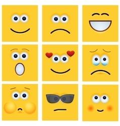 Modern yellow face set background vector