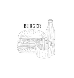 Burger soda and french fries hand drawn realistic vector