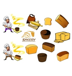 Bakery icons in cartoon style vector