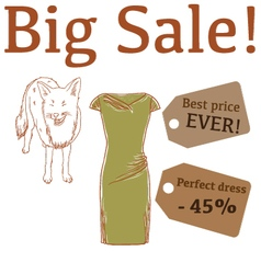 Big Sale with fox and perfect dress vector image vector image