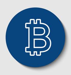 bitcoin sign white contour icon in dark vector image vector image