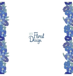 Blue floral border made with wildflowers vector