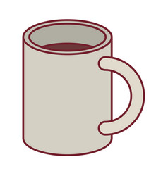 Colorful graphic of mug with dark red line contour vector