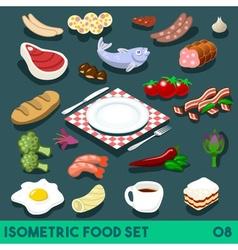 Diet set 08 food isometric vector