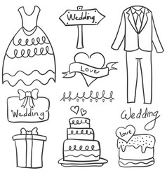 Doodle of element wedding style vector