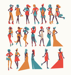 Fashion girls in different apparel - vector
