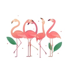 Flamingos in the form of numbers 2017 vector