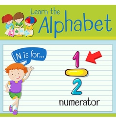 Flashcard letter n is for numerator vector