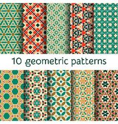 Geometric seamless patterns set vector