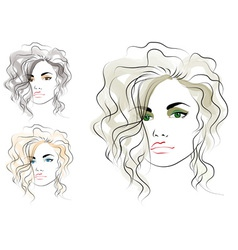 girls head vector image vector image