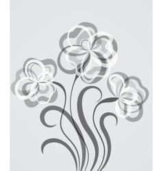 Grayscale eps10 background with abstract flowers vector