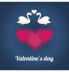 Happy valentines day with white loving couple of vector image vector image