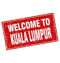 Kuala lumpur red square grunge welcome to stamp vector