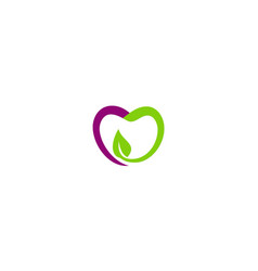 Love fruit green leaf organic logo vector