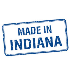 Made in indiana blue square isolated stamp vector