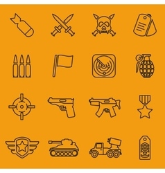 Military line icons vector image