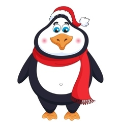 New years cheerful cute penguin in winter red hat vector