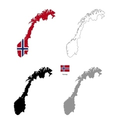 Norway country black silhouette and with flag on vector