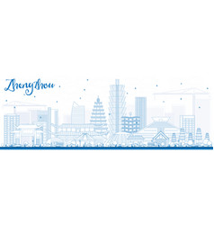 Outline zhengzhou skyline with blue buildings vector