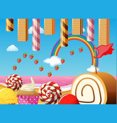 scene with strawberries and desserts vector image