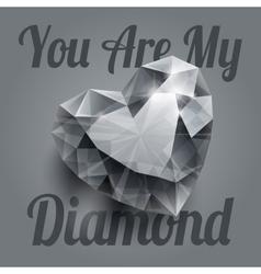 Shiny isolated diamond heart shape with realistic vector