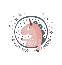 Unicorn Fairy Tale Character Girly Sticker In vector image vector image