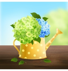 Watering can with hydrangea vector