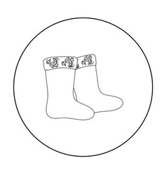 Winter felt boots icon in outline style isolated vector